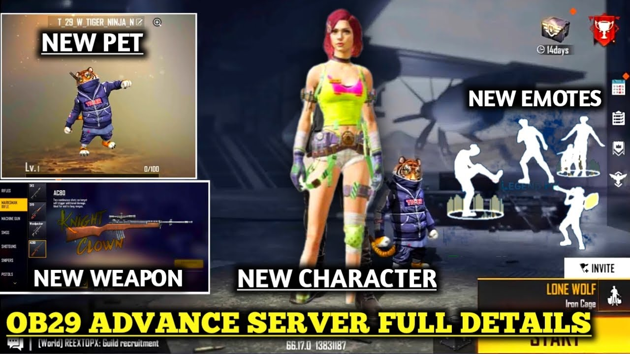 Download OB29 Advance Server Full Review   Free Fire Advance Server Live   Ob29 New Characters Look, New Pet