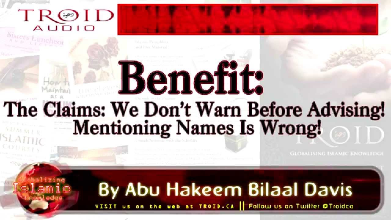 The Claims: Don't Warn Before Advising! Mentioning Names Is Wrong!