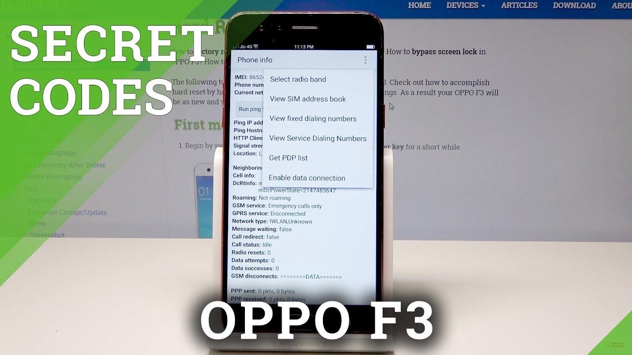 Codes OPPO F3 - HardReset info
