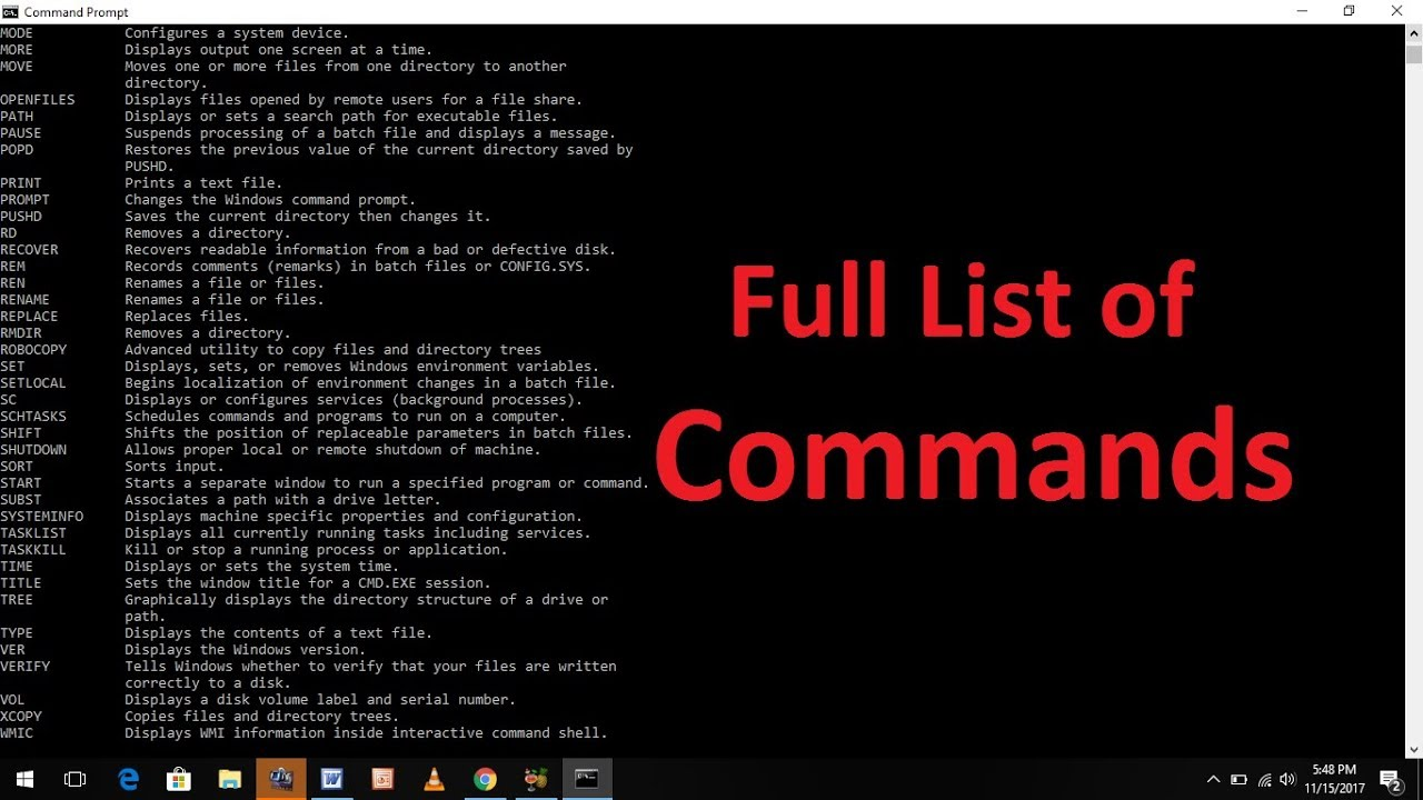 Commands for the Windows command line. List of main commands used for command line 94