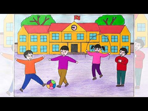 Vẽ tranh ngôi trường hạnh phúc | Vẽ tranh trường học hạnh phúc | Vẽ ngôi trường hạnh phúc