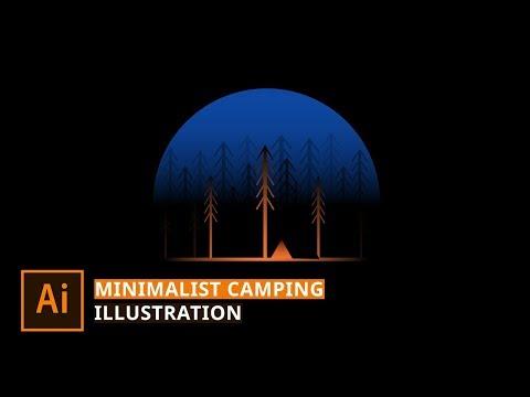 Illustrator Tutorial - Create Simple Camping Illustration thumbnail