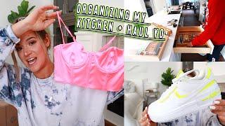organizing my kitchen + clothing haul: nike, west elm, whitefox
