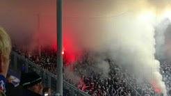 Hansa Rostock-Fans schießen Raketen in Fanblock von FC Magdeburg