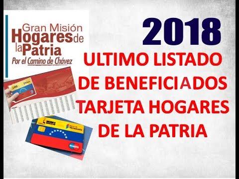 Ultimo listado de beneficiarios para la tarjeta hogares de la patria 2018