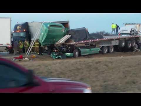 4 Truck Crash On Interstate 70