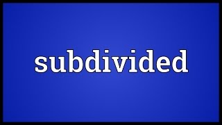 Subdivided Meaning