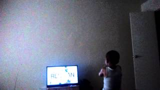Junior singing to the movie space jam