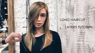 how to cut long layered women's haircut tutorial