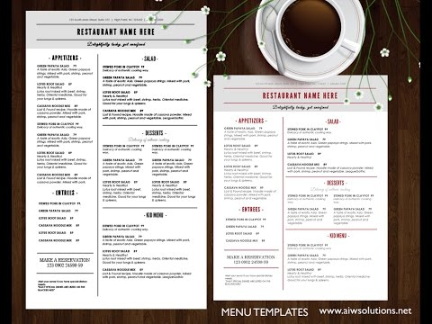 Create food menu or restaurant menu using MS WORD YouTube – How to Make a Restaurant Menu on Microsoft Word