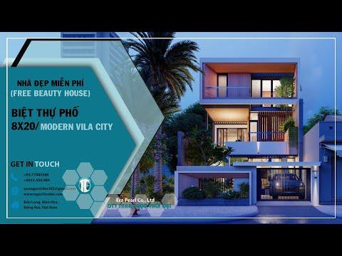 Nhà đẹp. Thiết kế biệt thự phố (8x20) /Modern Townhouse - Phim kiến trúc (Architect Animation 3D)