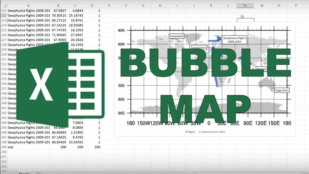 How to make a map in excel using a bubble chart YouTube