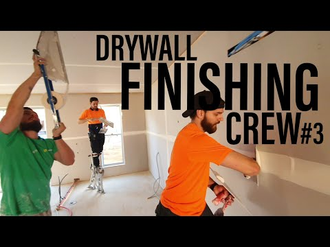 DRYWALL FINISHING CREW TAPING A UNIT IN 30 MINUTES   Drywall Finishing Construction Series #3