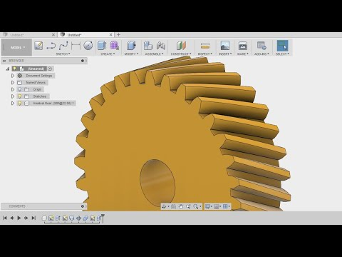 How to make a helical gear in 2 min - fusion 360 tutorial