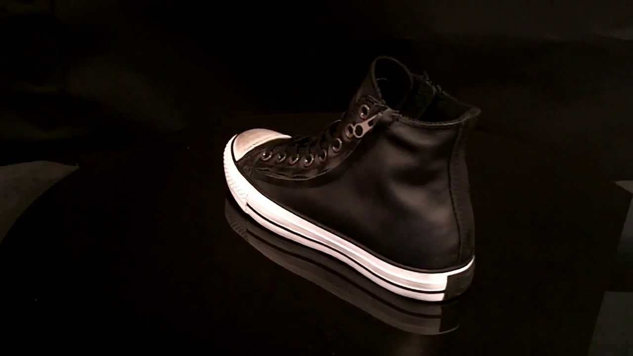 1b1ce1c8c8f7 Converse All Star Double Zip Hi Sneaker Leather Black 140001C - YouTube