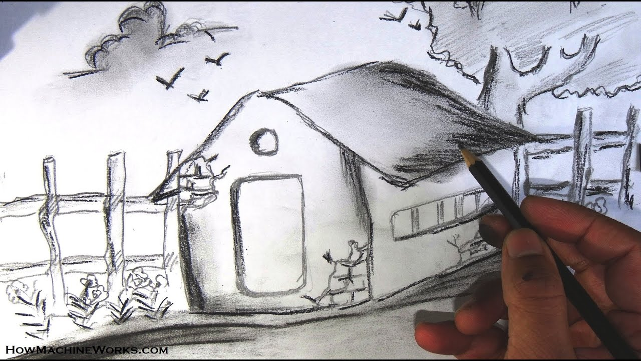 How to draw a scenery pencil drawing youtube