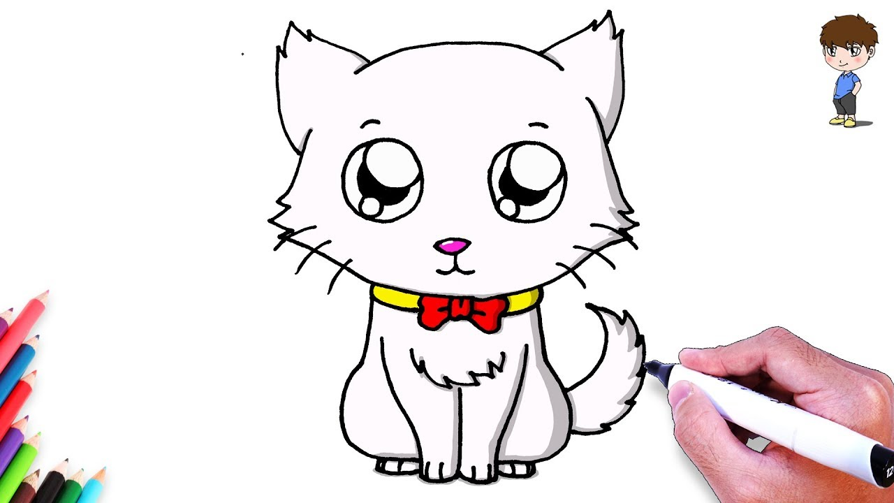 Comment dessiner un chat facilement dessin de chat kawaii facile a faire dessin de animaux - Comment dessiner un chat facilement ...