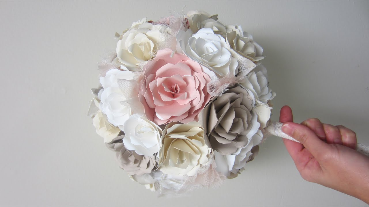 DIY Wedding Bouquet Paper Flowers from start to finish - YouTube