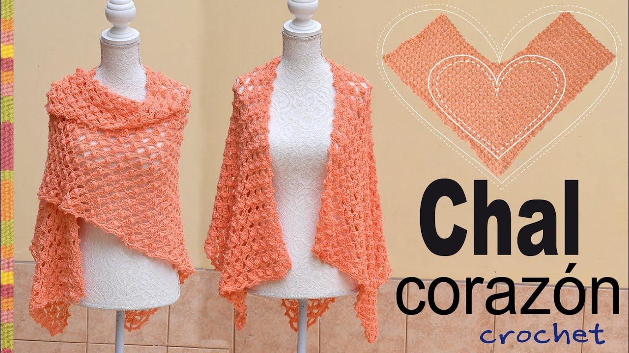 Chal corazón con abanicos de puntos puff tejido a crochet - Tejiendo ...