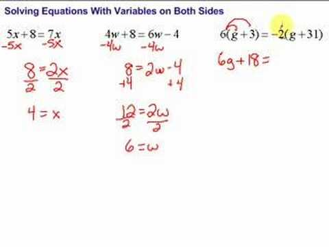 Equations with variables on both sides worksheet easy