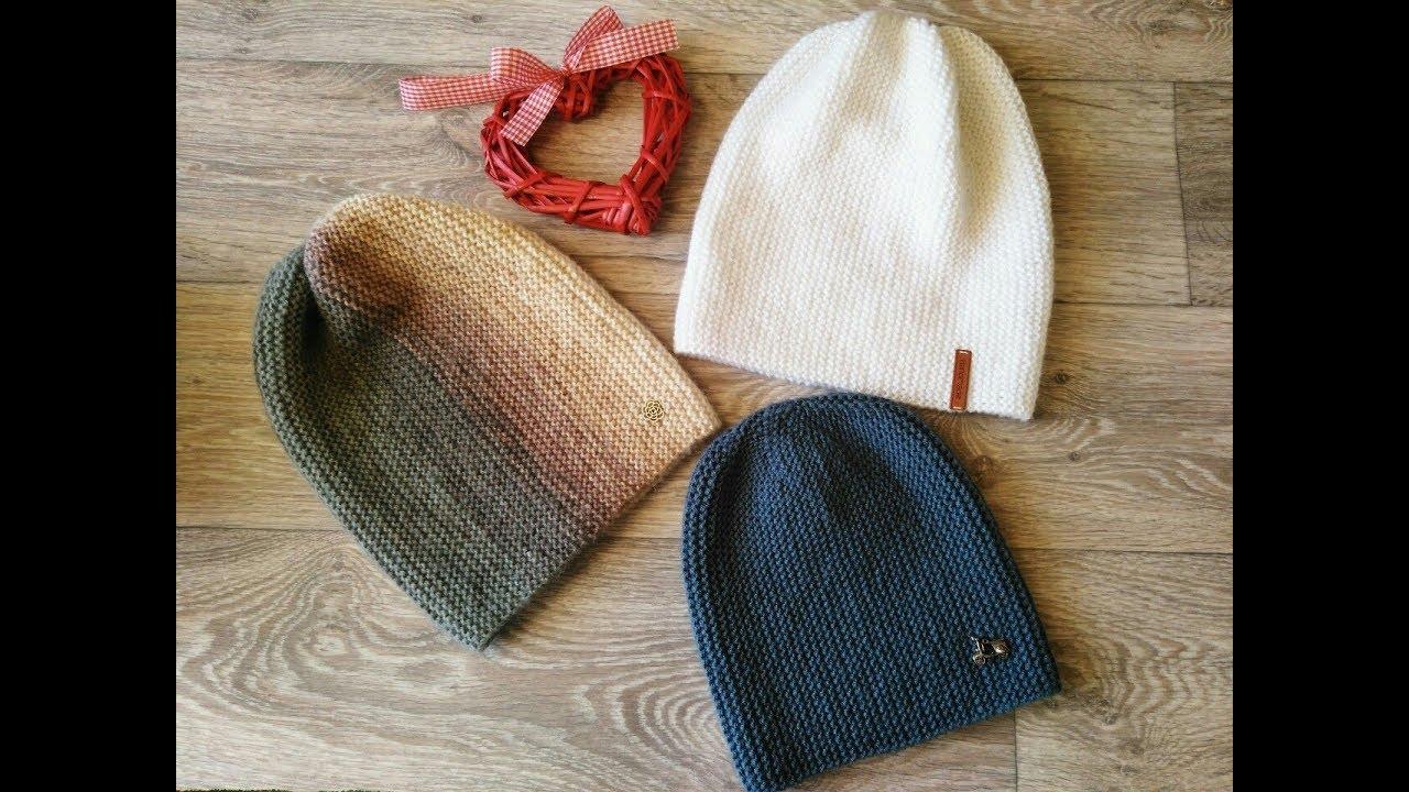 шапка бини платочной вязкой мастер класс спицами Youtube