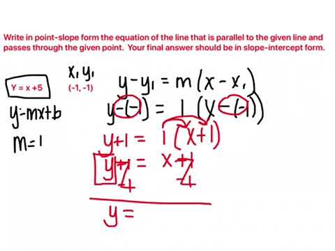 Algebra Write Equation To A Parallel Line Through A Point Youtube