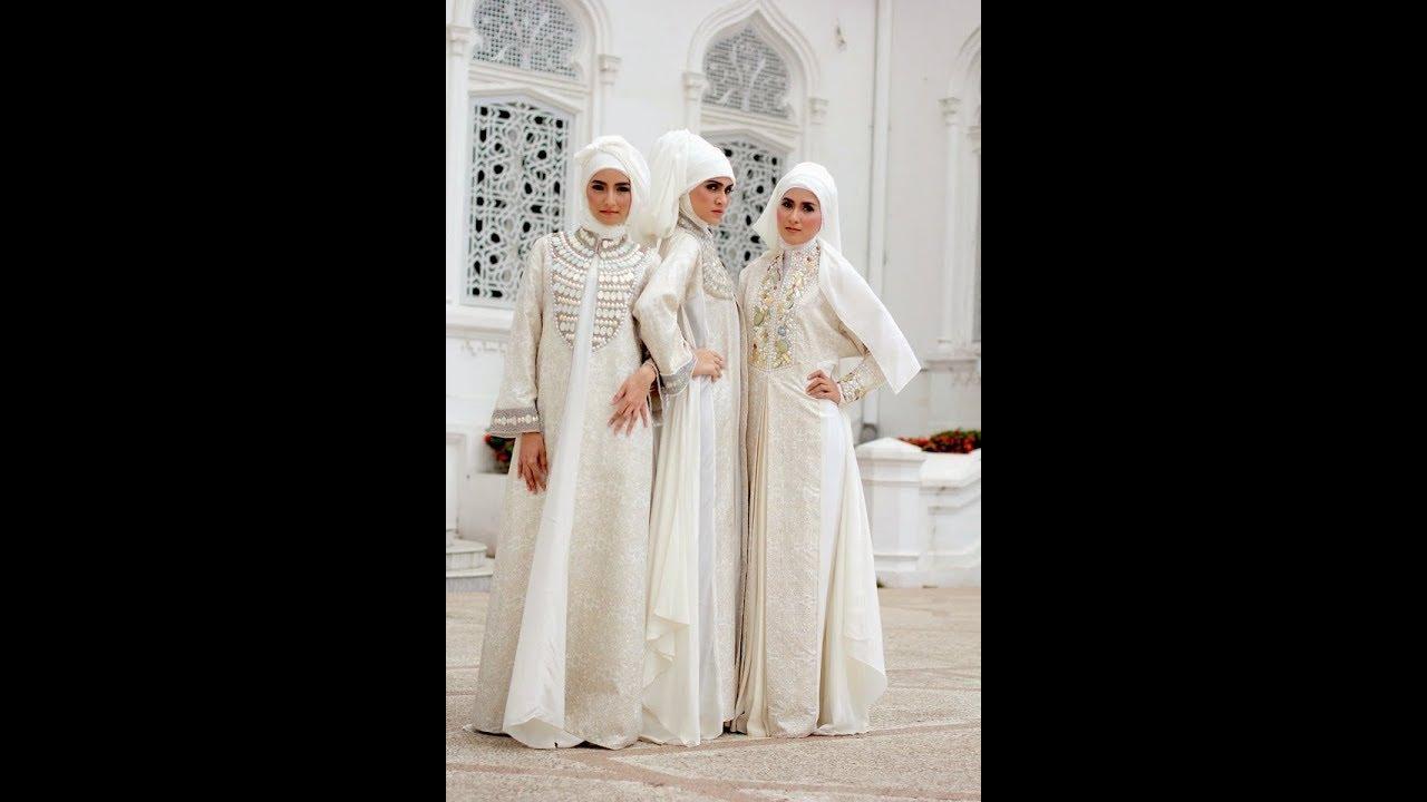 Model Baju Gamis Syari Warna Putih Tercantik Untuk Hari Raya Idul