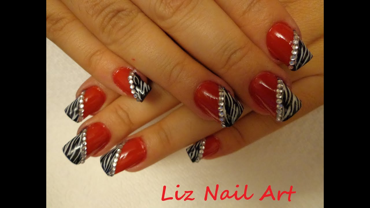 Zebra with Red Nail Design Tutorial - YouTube