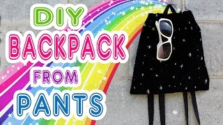 EASY DIY BACKPACK NO SEW TUTORIAL FROM OLD JEANS GALAXY STARS FROM SCRATCH