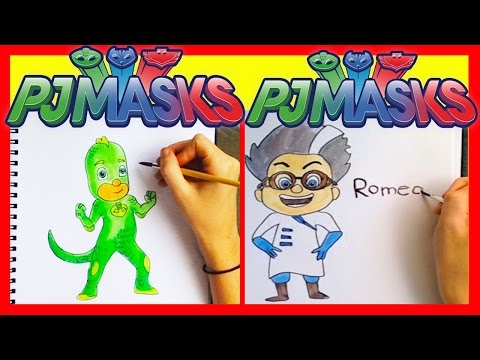PJ Masks Coloring - Superheroes and Nighttime Villains with Finger Family Song Surprise