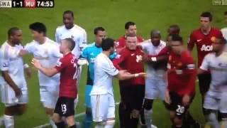 Ashley Williams Kicks the ball at Robin van Persie's head! (Swansea Vs Manchester United 1-1)