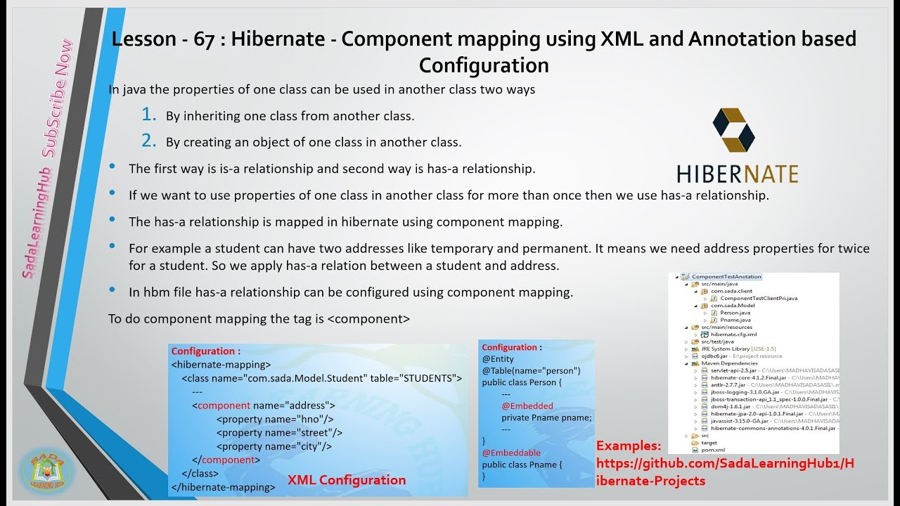 Lesson - 67 : Hibernate - Component mapping using XML and Annotation based  Config