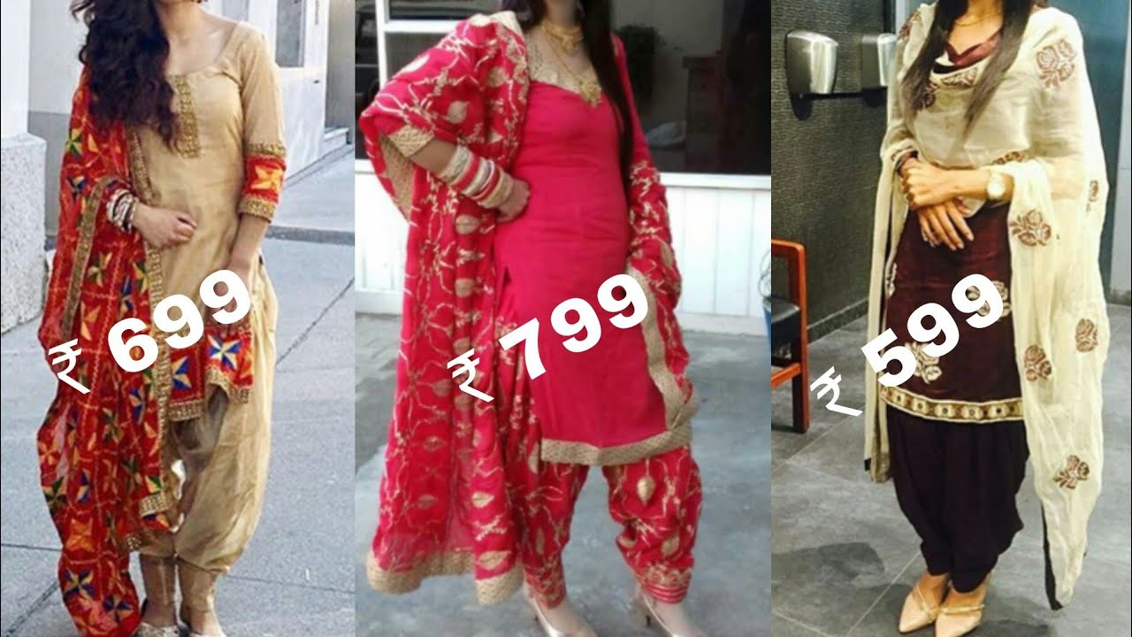 090b3999bd Buy party with Punjabi salwar suit with heavy embroidered dupatta with  price/Patiala salwar suits