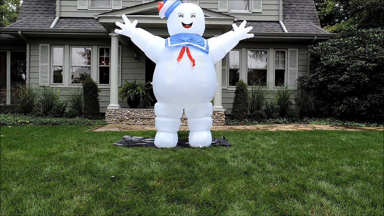 morbid airblown halloween inflatable ghostbusters marshmallow man 8 ft tall youtube - Halloween Inflatable Yard Decorations