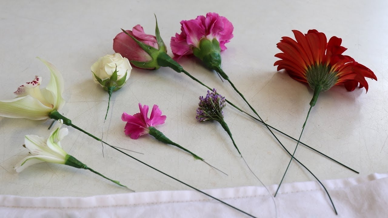 How to wire flowers for corsage and bridal work youtube how to wire flowers for corsage and bridal work izmirmasajfo