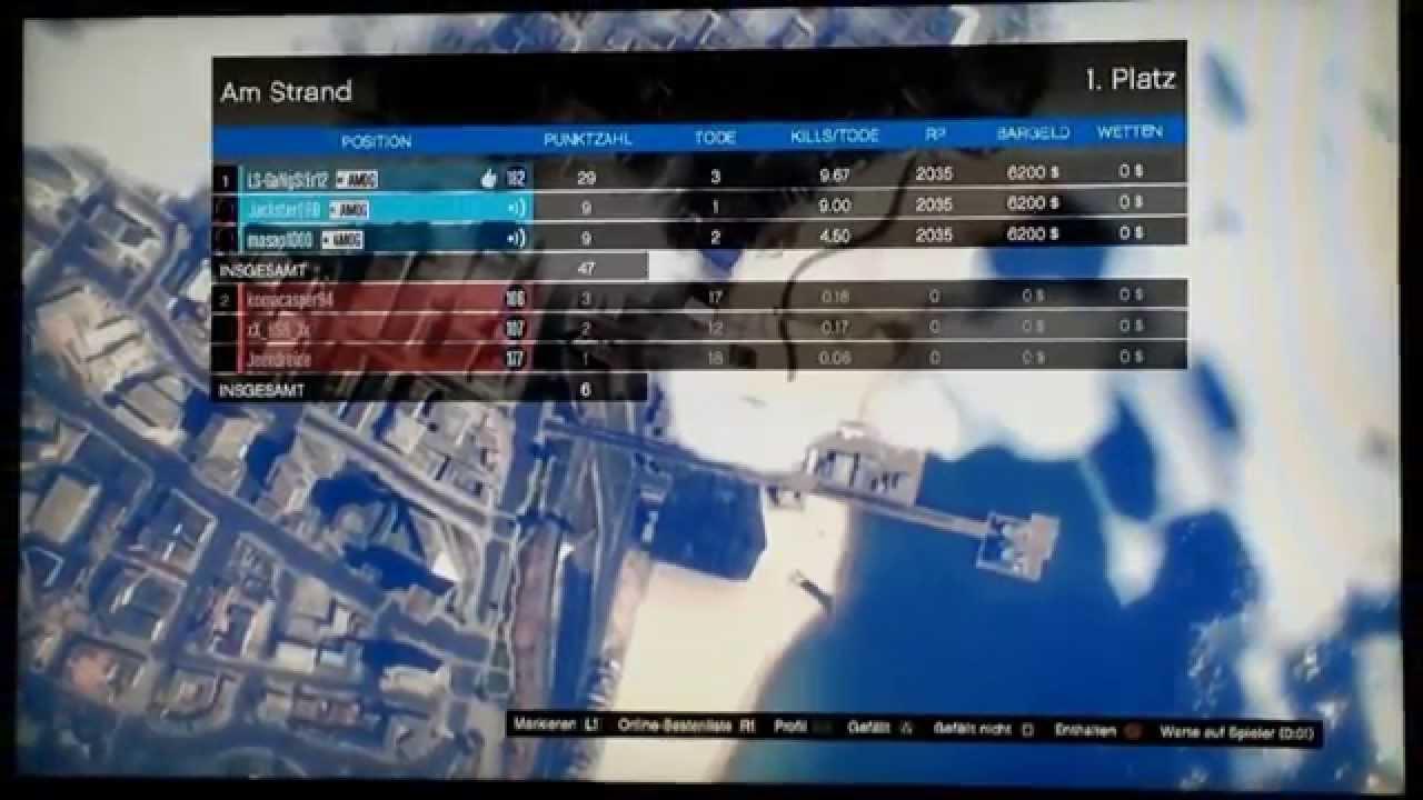 GTA 5 Online Deathmatch scores(TNGR and AMOG)
