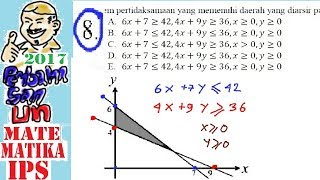 pembahasan soal UN SMA 2017 matematika IPS ,no 8, membuat model ,matematika