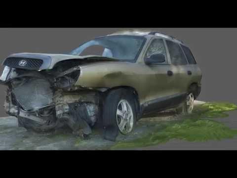 3D Scan Of A Hyundai Santa Fe Head On Car Wreck