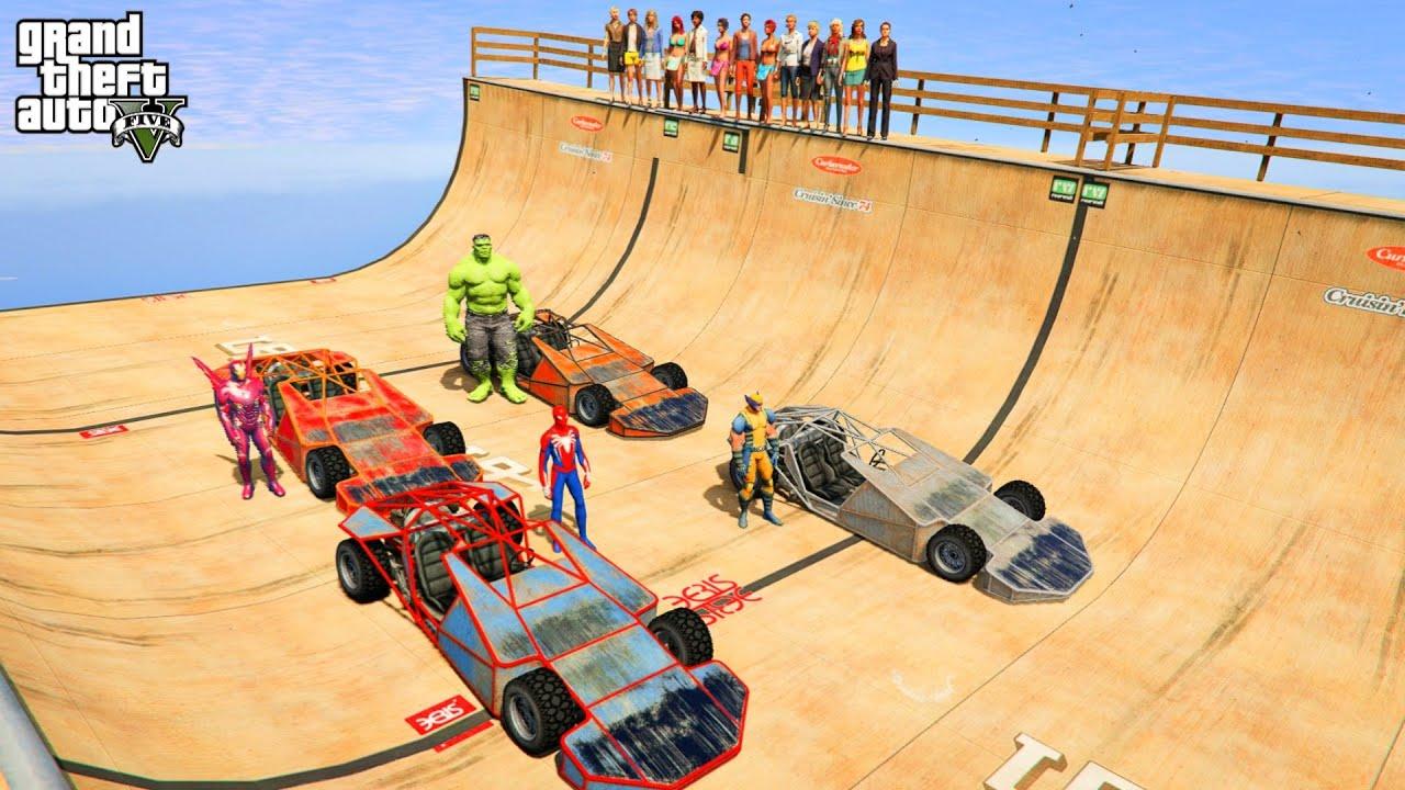 Spiderman Racing Challenge With Super-heróis Hulk,The Flash,Spider man,Wolverine - GTA 5