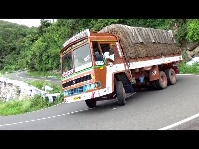 Heavy Load Lorry and Govt Bus Turning 10/40 Hairpin Bend Road Valparai Hills Pollachi