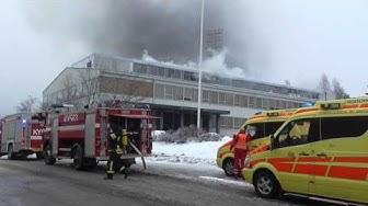 Kouvolan yhteiskoulun palo 11.2.2014 (Big school fire in Kouvola)