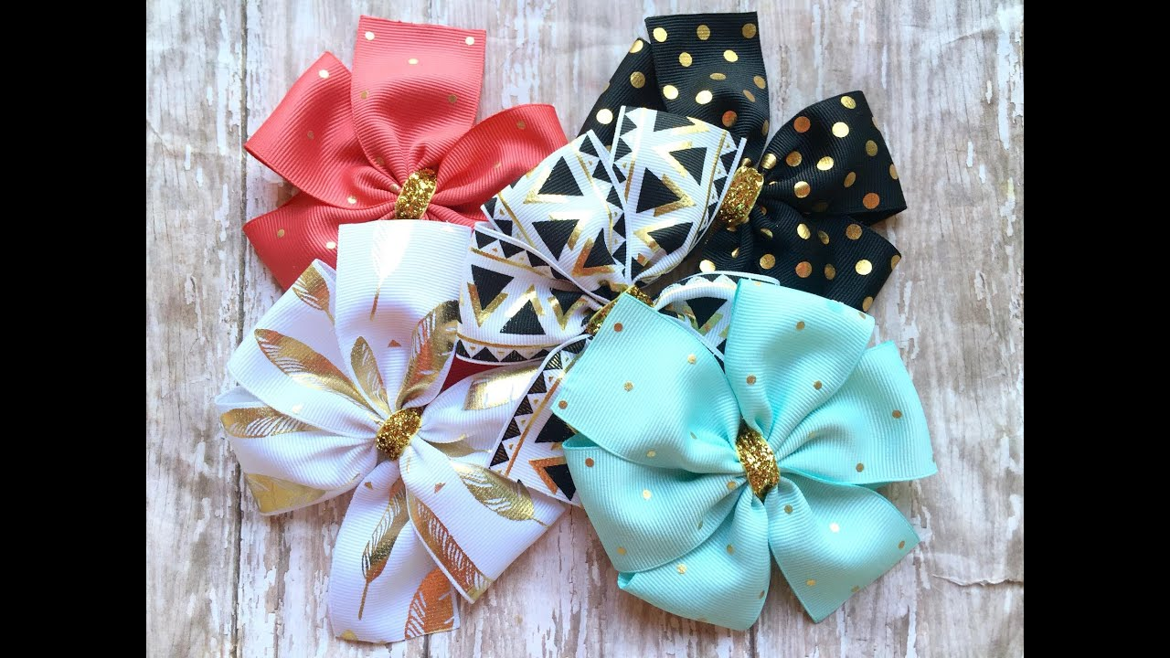 How to make a pinwheel bow youtube pronofoot35fo Gallery