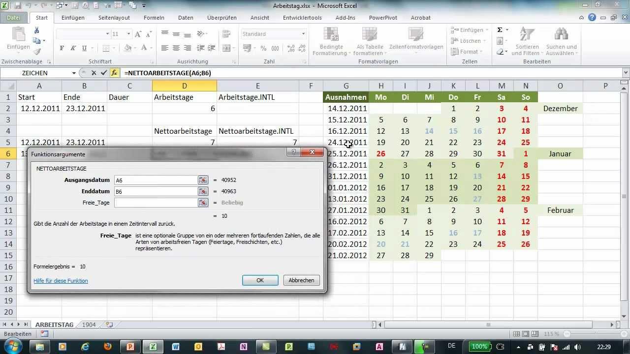 Arbeitstage 2012 Berechnen : excel nettoarbeitstage und nettoarbeitstage intl ~ Themetempest.com Abrechnung