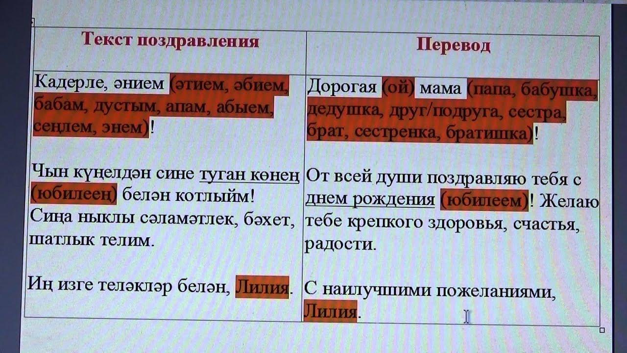 Поздравления на татарском языке - Шугурово. рф 69