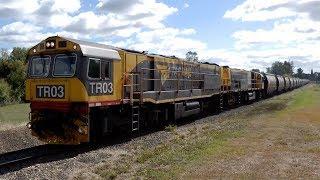 TasRail TR03 TR02 #46 Coal train departing Fingal