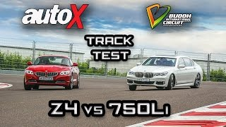 bmw z4 vs bmw 750li review   bic track test   autox