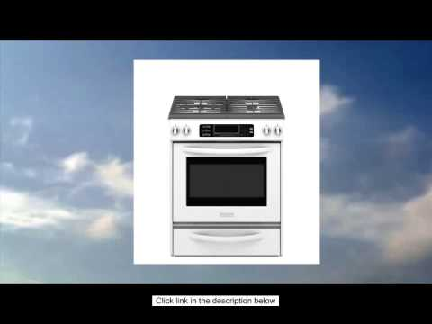 KitchenAid Architect Series II KGSS907SWH 30 Slide In Gas Range With 4  Sealed Burners   White