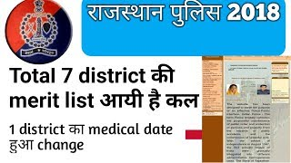 Rajasthan police 2018! 7 district merit list + important notice latest update !