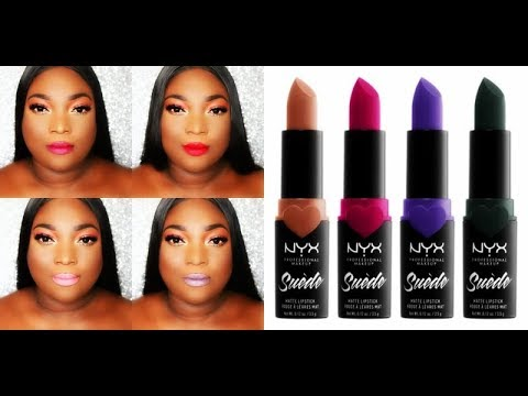 New Nyx Suede Matte Lipsticks Swatches Youtube