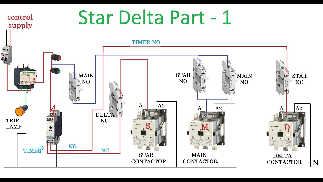 star delta starter  motor control with circuit diagram in
